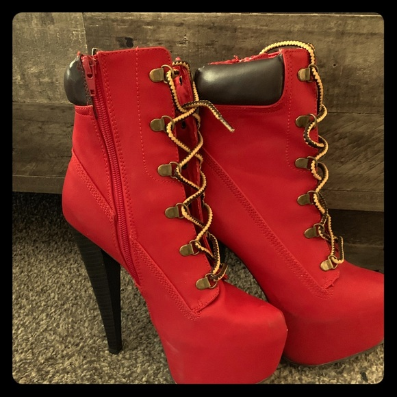 preview of promo codes how to serch Red Timberland Heels
